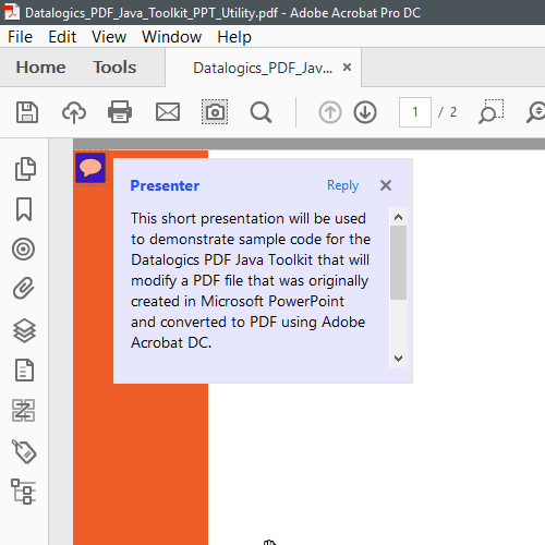Slide Notes as seen in Acrobat and Reader