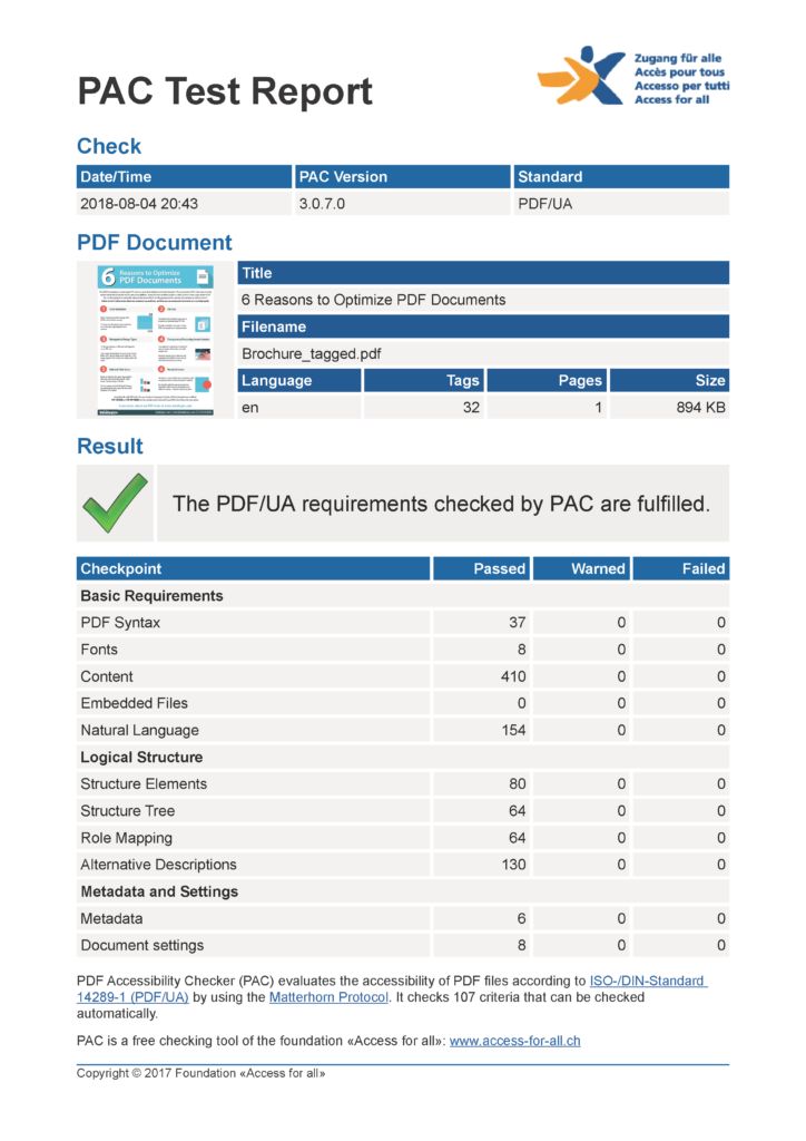 screenshot showing PDF/UA requirements fufilled.