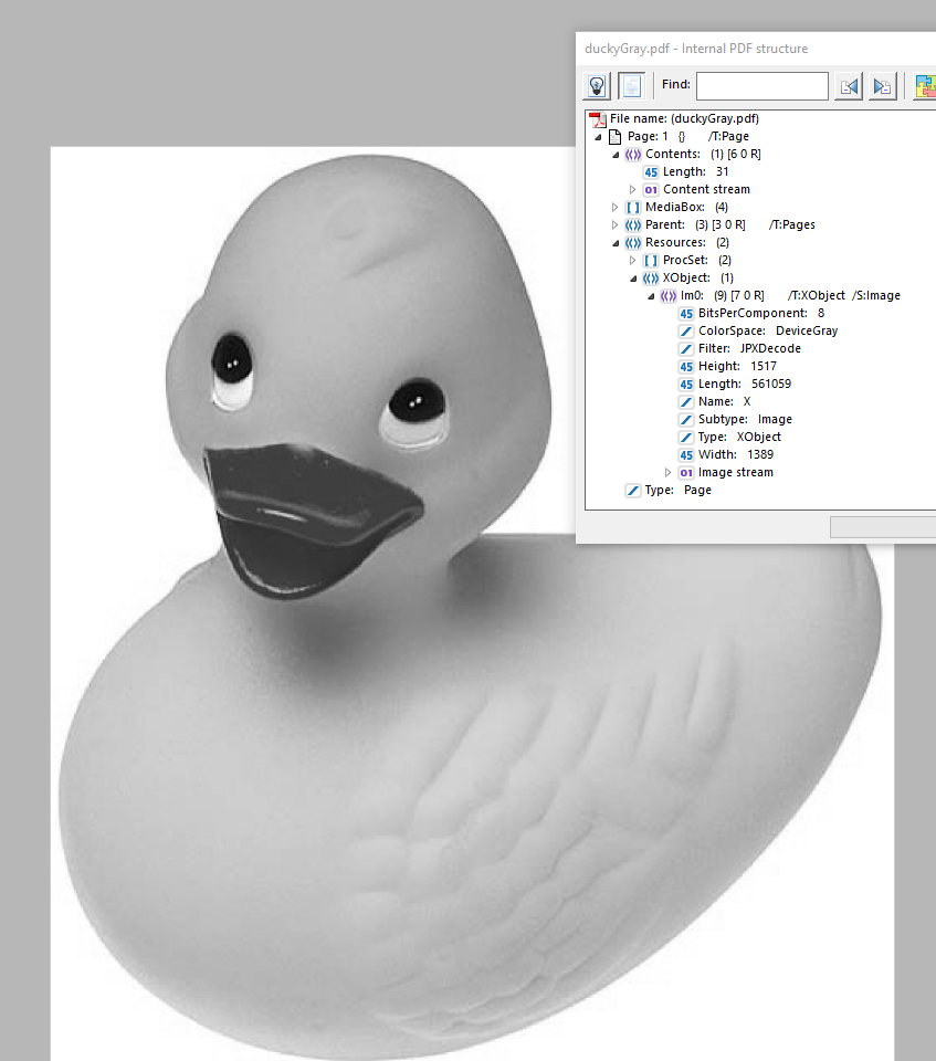 A JPEG2000 encoded, grayscale picture of a rubber ducky.